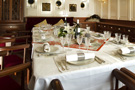 The schooner Atlantic, the extending table set for a 12 guest dinner...