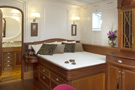The schooner Atlantic, the master stateroom with an en suite bathroom...