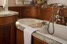The schooner Atlantic, the master bathroom, with double basins and a full-size bathtub...