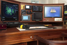 The schooner Atlantic, the chart table, including computers, radar and other navigational instruments...