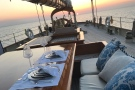 The schooner Atlantic, luxurious al fresco dining on deck...